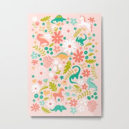 Dinosaurs + Unicorns in Pink + Teal Metal Print