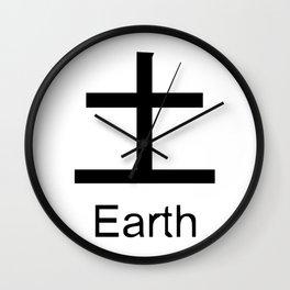 Earth Japanese Writing Logo Icon Wall Clock