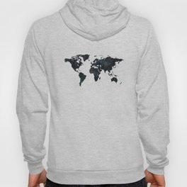 World Map in Black and White Ink on Paper Hoody