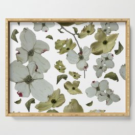 Dogwood Pedals on White Serving Tray