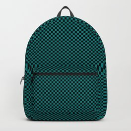 Black and sea green squares Backpack