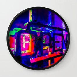 OPEN neon sign with pink purple red and blue painting abstract background Wall Clock