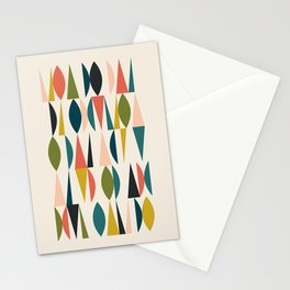 Mid Century Modern Abstract Colorful Shapes Funky Cool Minimalist Pattern Stationery Cards