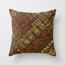 Ethnic African Pattern- browns and golds #5 Throw Pillow