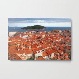 Old Town of Dubrovnik and Lokrum Island Metal Print