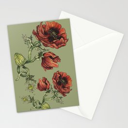 Fall Poppy Flower Stationery Cards
