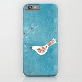 Scandinavian Bird with Hearts iPhone Case