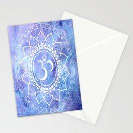 Om Mandala Lavender Periwinkle Blue Galaxy Space Stationery Cards