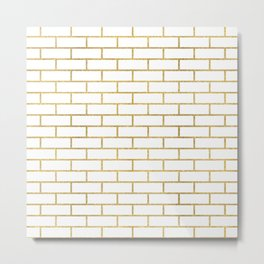 Gold Subway Tiles Metal Print