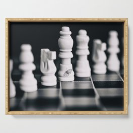 black and white chess pieces and butterfly  Serving Tray