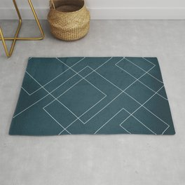 Overlapping Diamond Lines on Aqua Rug