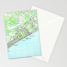 Map of North Myrtle Beach South Carolina (1990) Stationery Cards