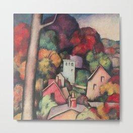 Autumn Foliage, Upper Manhattan, New York landscape painting by Thomas Hart Benton  Metal Print