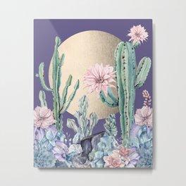 Desert Sun Cactus + Succulents Gold Deep Purple Metal Print