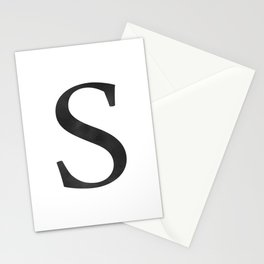 Letter S Initial Monogram Black and White Stationery Cards