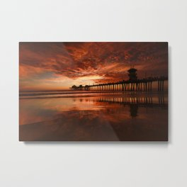 New Years Day Sunset At The Huntington Beach Pier  1-1-2020 Metal Print