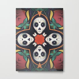 Cross Bones // Sugar Skull Skeleton Creepy Cute Black White Red Green Mandala Pattern Metal Print