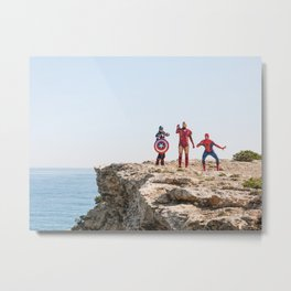 Real Superheroes On A Rock |  Comic Poster Movie Photography Metal Print