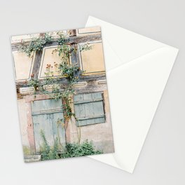 Blue door, yellow wall and greenery in France | Travel photography Europe | Pastel photo print Stationery Cards