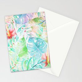 Tropical teal pink green watercolor abstract floral Stationery Cards