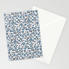 Orange blue floral Stationery Cards