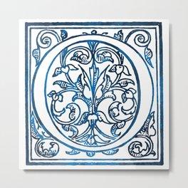 Letter O Antique Floral Letterpress Metal Print