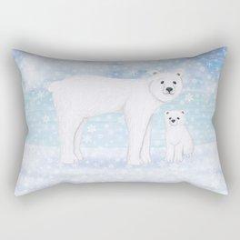 polar bears in the snow Rectangular Pillow