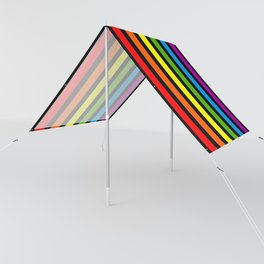 Rainbow & Black colorful stripes Sun Shade