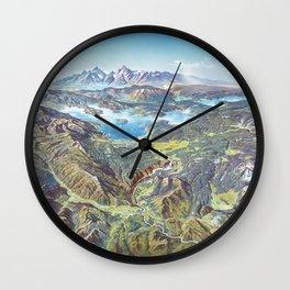 Heinrich Berann - Panoramic Painting Yellowstone National Park (1991) Wall Clock