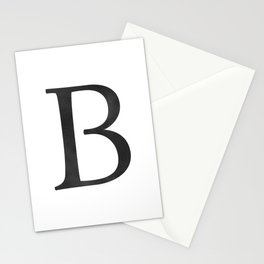 Letter B Initial Monogram Black and White Stationery Cards