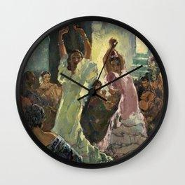 'Scène de Flamenco à Seville' by Jose Herrerilla Cruz Wall Clock