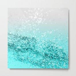Silver Gray Aqua Teal Ocean Glitter #1 #shiny #decor #art #society6 Metal Print