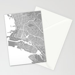 Oakland CA map grey Stationery Cards