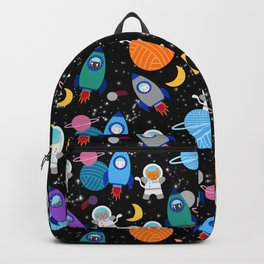 Space Cats Astronaut Kittens Rocket Ship Pattern Backpack