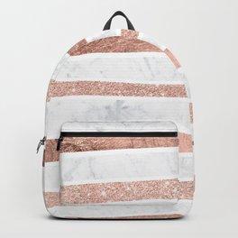 Modern faux rose gold glitter foil marble stripes pattern Backpack