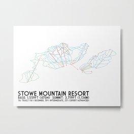 Stowe Mountain Resort, VT - Minimalist Trail Art Metal Print