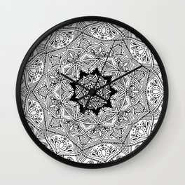 paisley black and white hippie boho mandala Wall Clock