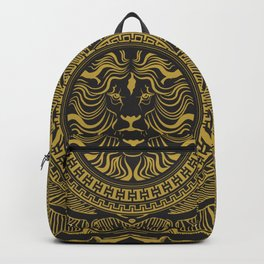 Medallion Lion Black Gold Backpack