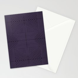 Royal purple lines on mudcloth Stationery Cards