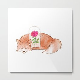 The Fox and The Rose Metal Print