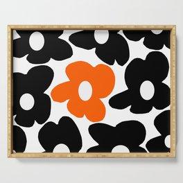 Large Orange and Black Retro Flowers White Background #decor #society6 #buyart Serving Tray