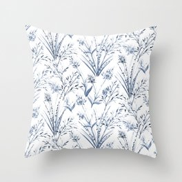 Wild Fields (Blue) Throw Pillow