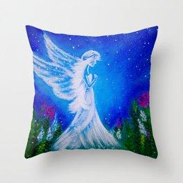 Angel at night  Throw Pillow