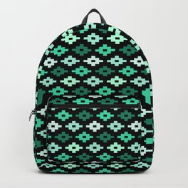 Geometric Flower Cross Stitch Appearance - Aqua Deep Teal On Black Backpack