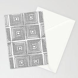 Minimal linocut printmaking geometric square maze pattern scandinavian minimalist Stationery Cards