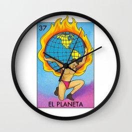 Loteria Mexican Bingo Planet Earth Wall Clock