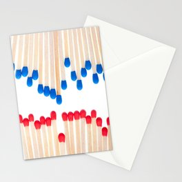 Many red and blue unused wooden matches Stationery Cards
