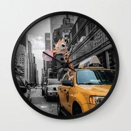 Giraffe in New York City Wall Clock