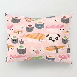 Kawaii sushi light pink Pillow Sham