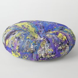 Purple with Yellow Rain Floor Pillow